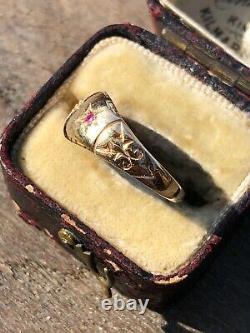 Antique Victorian Garnet X Diamond 18 Gypsy Style Yellow Gold Ring Band Unusual