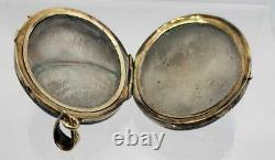 Antique Victorian Gold Filled Mourning Photo Hair Enamel Seed Pearl Locket Pend
