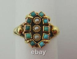Antique Victorian Gold & Turquoise & Pearl Ring