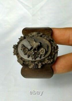 Antique Victorian Gutta Percha Mourning Bracelet Bird on Flowers