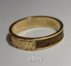 Antique Victorian Mourning 10k Gold & Hair Belt Engraved Band Ring Free Ship Sz7