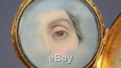 Antique Victorian Nobility Gold Enamel Hidden Lover's Eye Mourning Brooch 1861