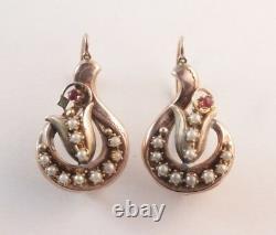 Antique Victorian Pearl Ruby Pierced Dangle Earrings 10k Rose Gold