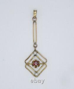 Antique Victorian Period Solid 10k Gold Seed Pearl & Garnet Pendant 1.5