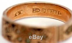 Antique Victorian Seed Pearl 9ct Gold Hair Mourning Memorial Ring Chester 1894