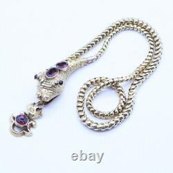 Antique Victorian Snake Necklace 14k Gold Garnets w Garnet Pendant Drop (6872)