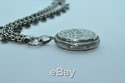 Antique Victorian Sterling Silver Leaves & Flowers Locket And Necklace