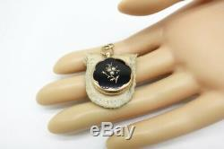 Antique Victorian forget me not Solid 14K Gold Mourning Locket necklace Pendant