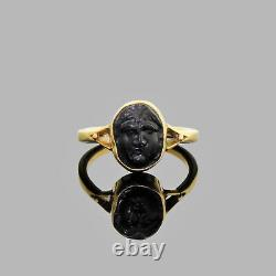 Antique Vintage 14k Gold Carved Man In Moon Face Ring Possible Roman Glass