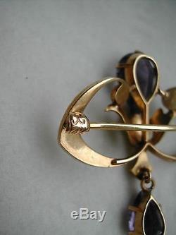 Antique / Vintage 14k Gold Enamel Amethyst Seed Pearl Dangle Pin Brooch Krementz