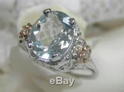 Antique Vintage 14kt Wg Rose Gold Aquamarine Diamond Filigree Deco Cocktail Ring