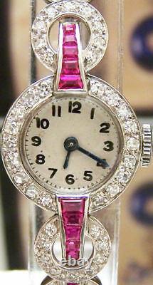 Antique Vintage 40's Gorgeous Solid Platinum 56 Diamond & Ruby Watch Serviced