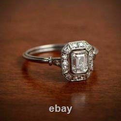 Antique Vintage Art Deco 1.50 Ct Emerald Cut Diamond Engagement Ring 925 Silver