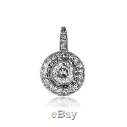 Antique Vintage Art Deco 2.0Ctw Diamond Halo Earrings 1920's 14K White Gold Over