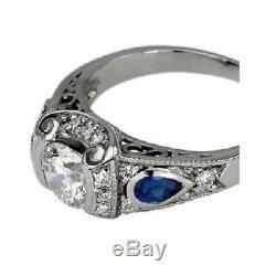 Antique Vintage Art Deco 2 Ct Moissanite Fine 14K White Gold Finish Retro Ring