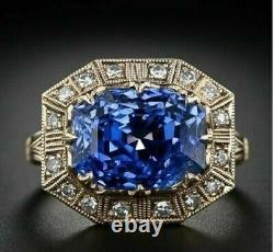 Antique Vintage Art Deco Blue Sapphire 2.55 Ct Diamond Promise Ring 925 Silver 7