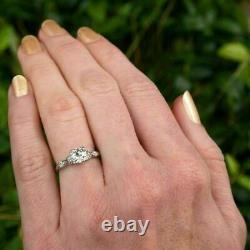 Antique Vintage Art Deco Engagement Ring 2.5Ct Round Diamond 14K White Gold Over