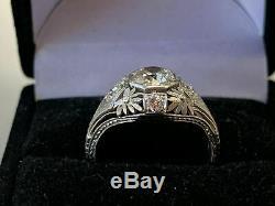 Antique Vintage Art Deco Engagement Ring Fine 2 Ct Diamond 14K White Gold Finish