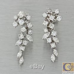 Antique Vintage Estate 14k White Gold Diamond Chandelier Drop Dangle Earrings A1