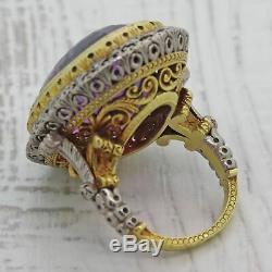 Antique Vintage Estate Platinum 18k Yellow Gold Amethyst Diamond Cocktail Ring C