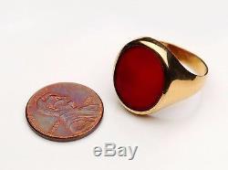 Antique Vintage Men Signet Ring solid 18K Gold Carnelian US 9.25 / 5.2 gr