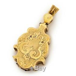 Antique Vintage Nouveau 14k Gold Taille d'Epargne Pearl Six Panel Locket Pendant
