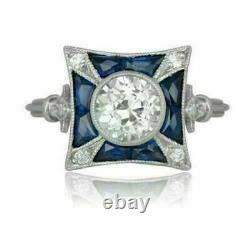 Antique Vintage Retro Engagement Ring 2Ct Diamond & Sapphire 14K White Gold Over