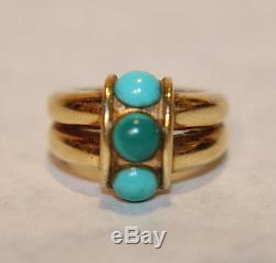 Antique Vintage Solid 18K Yellow Gold Turquoise Ring Sz 6 1/4