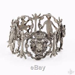 Antique Vintage Victorian Georgian Sterling Silver Neo Classical Estate Bracelet