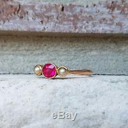 Antique Vintage Victorian Ruby and Seed Pearl Cluster Trilogy Ring 9k Rose Gold