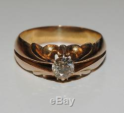 Antique Yellow Gold Solitaire Old Mine Cut Diamond Ring