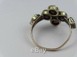 Antique diamond and garnet ring