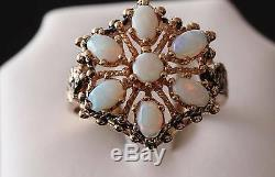Antique handmade 10k yellow gold 2.35ct natural fiery opal size 9.75 ring 6.6gr