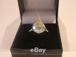 Antique platinum 5.05 CT Solitaire Diamond Ring Old European cut CERT VS2