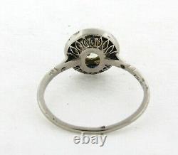 Art Deco 1.28 Old Mine Cushion Cut Diamond Halo Sapphire Platinum Ring