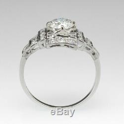 Art Deco 1.35 Ct Round White D/VVS1 Diamond Engagement Ring 14k White Gold Over