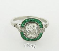 Art Deco 1.36 Old Mine Cushion Cut Diamond Emeralds Platinum Engagement Ring