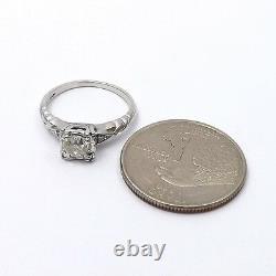 Art Deco 14k White Gold European Cut Diamond box setting Engagement Ring