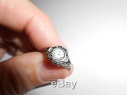 Art Deco 14k White Gold Filigree / 0.75 Ct Old Mine Cut Diamond Ring