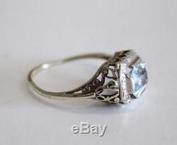 Art Deco 14k Yellow & White Gold Aquamarine Ring Size 7.75