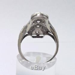 Art Deco 18K White Gold. 50 ctw Old Mine Cut Diamond Sapphire Ring Sz 6.5