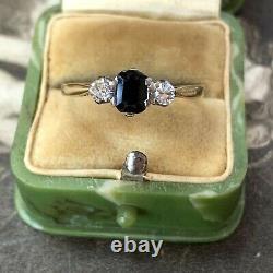 Art Deco 18ct Gold Sapphire Diamond Trilogy Ring, Antique Engagement UK O 1/2