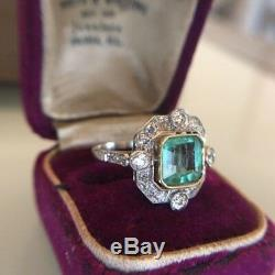 Art Deco 2.40Ct Asscher Green Diamond 14K Gold Over 5 Stone Halo Engagement Ring
