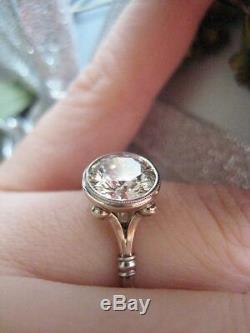 Art Deco 3.20 ct White Round Cut Diamond 925 Silver Engagement Vintage Ring