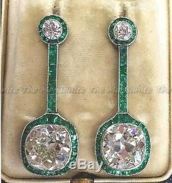 Art Deco 4.85 Ct Emerald Cut Diamond 14K White Gold Over Drop/Dangle Earring