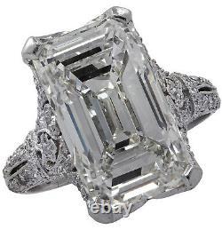 Art Deco 9.04 Carat Emerald Cut Engagement Ring