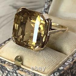 Art Deco 9ct Yellow Gold Citrine Ring, Antique Rare 19.49 CT Asscher Cut, UK N