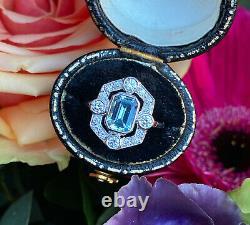 Art Deco Aquamarine and Diamond Cluster Platinum Ring 0.45ct + 1.0ct