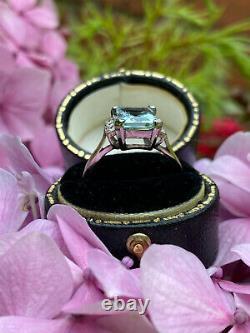 Art Deco Aquamarine and Diamond Platinum Ring 0.12ct + 2ct Aquamarine