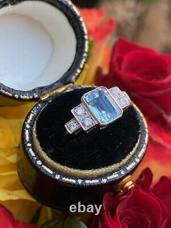 Art Deco Aquamarine and Diamond Platinum Ring 0.25ct + 1.35ct